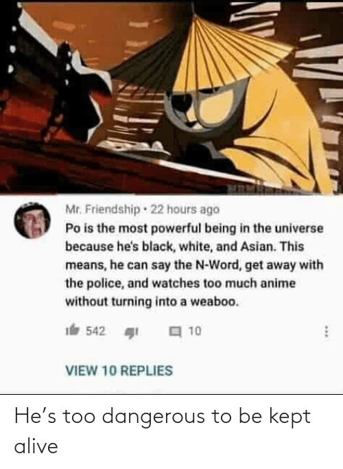 get away: Mr. Friendship · 22 hours ago  Po is the most powerful being in the universe  because he's black, white, and Asian. This  means, he can say the N-Word, get away with  the police, and watches too much anime  without turning into a weaboo.  a 10  542  VIEW 10 REPLIES He's too dangerous to be kept alive