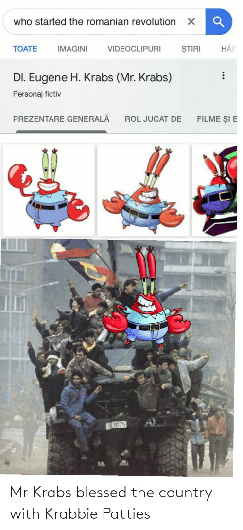 Mr. Krabs: Mr Krabs blessed the country with Krabbie Patties