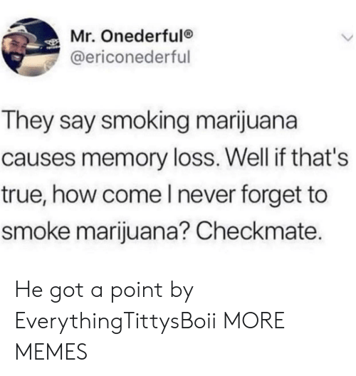 Dank, Memes, and Smoking: Mr. Onederfulo  @ericonederful  They say smoking marijuana  causes memory loss. Well if that's  true, how come l never forget to  smoke marijuana? Checkmate. He got a point by EverythingTittysBoii MORE MEMES