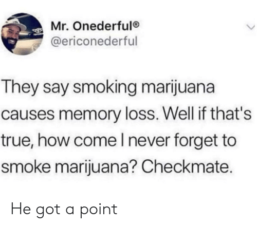 Smoking, True, and Marijuana: Mr. Onederfulo  @ericonederful  They say smoking marijuana  causes memory loss. Well if that's  true, how come l never forget to  smoke marijuana? Checkmate. He got a point