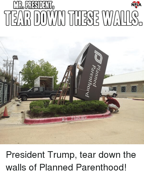 Memes, Parenthood, and Trump: MR PRESIDENTh  NPLA  TEAR DOWN THESE WALISo President Trump, tear down the walls of Planned Parenthood!