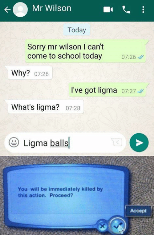 Memes, School, and Sorry: Mr Wilson  Today  Sorry mr wilson I can't  come to school today 726  Why? 07:26  I've got ligma 07:27  What's ligma? 07:28  Ligma balls  You will be immediately killed by  this action. Proceed?  Accept
