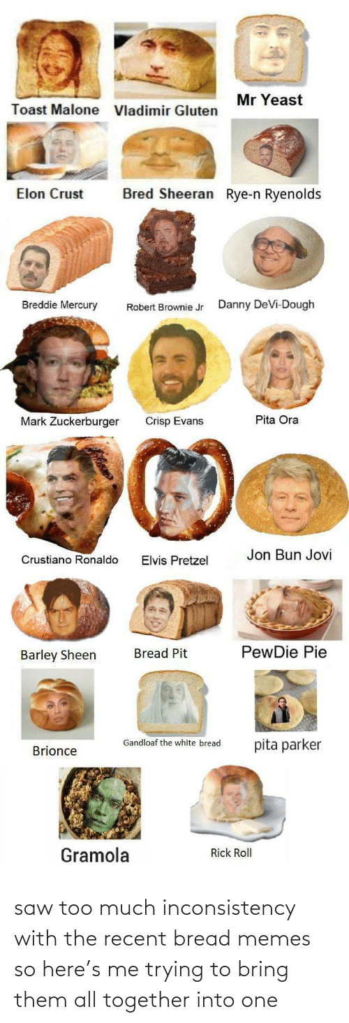 danny: Mr Yeast  Toast Malone  Vladimir Gluten  Bred Sheeran Rye-n Ryenolds  Elon Crust  Breddie Mercury  Danny DeVi-Dough  Robert Brownie Jr  Pita Ora  Mark Zuckerburger  Crisp Evans  Jon Bun Jovi  Crustiano Ronaldo  Elvis Pretzel  PewDie Pie  Bread Pit  Barley Sheen  Gandloaf the white bread  pita parker  Brionce  Gramola  Rick Roll saw too much inconsistency with the recent bread memes so here's me trying to bring them all together into one