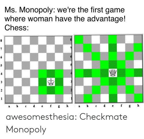 checkmate: Ms. Monopoly: we're the first game  where woman have the advantage!  Chess:  8  6  5  3  2  1  ef  d  h  b  gh  f  C  а  а awesomesthesia:  Checkmate Monopoly