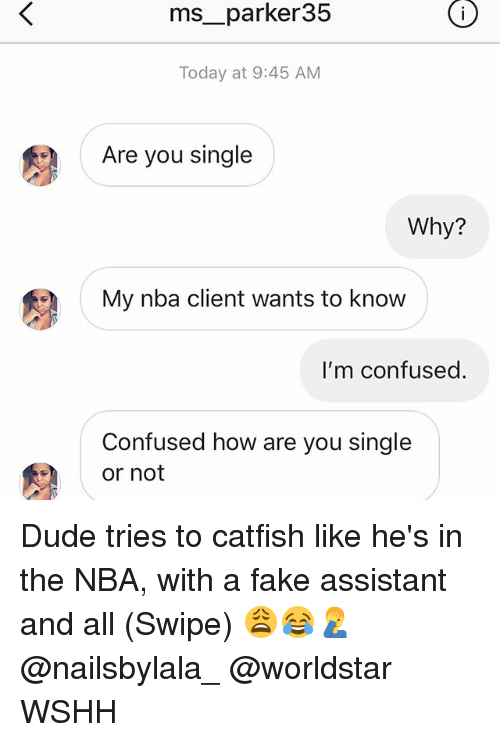Catfished, Confused, and Dude: ms__parker35  Today at 9:45 AM  Are you single  Why?  My nba client wants to know  I'm confused.  Confused how are you single  or not Dude tries to catfish like he's in the NBA, with a fake assistant and all (Swipe) 😩😂🤦♂️ @nailsbylala_ @worldstar WSHH