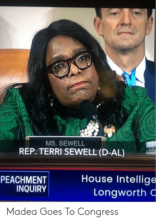 Terri: MS.SEWELL  REP. TERRI SEWELL (D-AL)  House Intellige  Longworth  PEACHMENT  INQUIRY Madea Goes To Congress