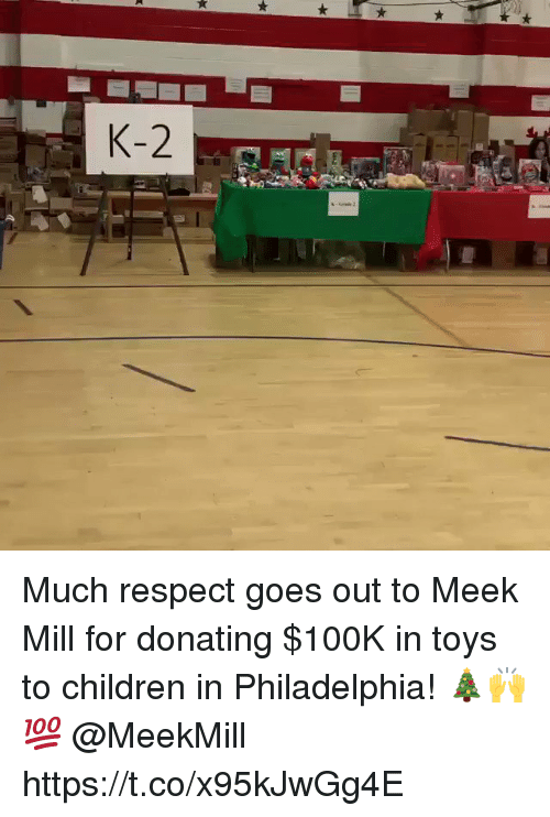 Meek Mill: Much respect goes out to Meek Mill for donating $100K in toys to children in Philadelphia! 🎄🙌💯 @MeekMill https://t.co/x95kJwGg4E
