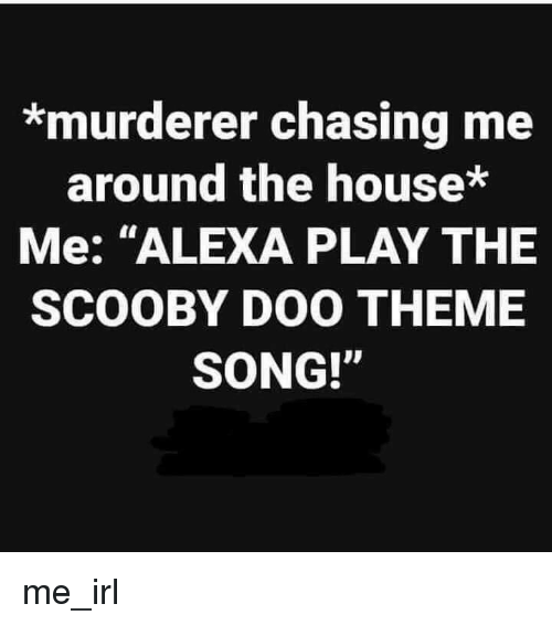 """Scooby Doo, House, and Irl: *murderer chasing me  around the house*  Me: """"ALEXA PLAY THE  SCOOBY DOO THEME  SONG!"""" me_irl"""