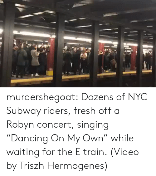 """Fresh, Singing, and Subway: murdershegoat: Dozens of NYC Subway riders, fresh off a Robyn concert, singing """"Dancing On My Own"""" while waiting for the E train. (Video by Triszh Hermogenes)"""
