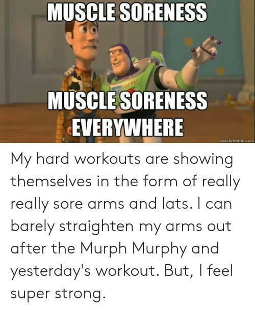 quickmeme: MUSCLE SORENESS  MUSCLE SORENESS  EVERYWHERE  quickmeme.com My hard workouts are showing themselves in the form of really really sore arms and lats. I can barely straighten my arms out after the Murph Murphy and yesterday's workout. But, I feel super strong.