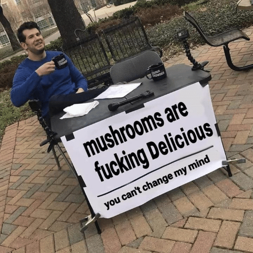 Fucking, Change, and Mind: mushrooms are  fucking Delicious  you can't change my mind