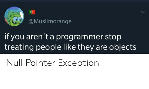 Objects: @Muslimorange  if you aren't a programmer stop  objects  treating people like they are Null Pointer Exception