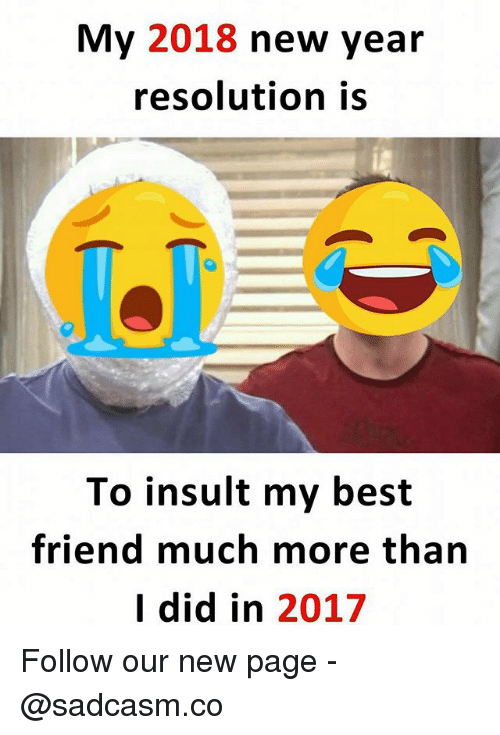 New Year Resolution: My 2018 new year  resolution is  To insult my best  friend much more tharn  I did in 2017 Follow our new page - @sadcasm.co