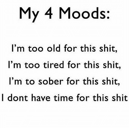 Sober: My 4 Moods:  I'm too old for this shit,  I'm too tired for this shit,  I'm to sober for this shit,  I dont have time for this shit