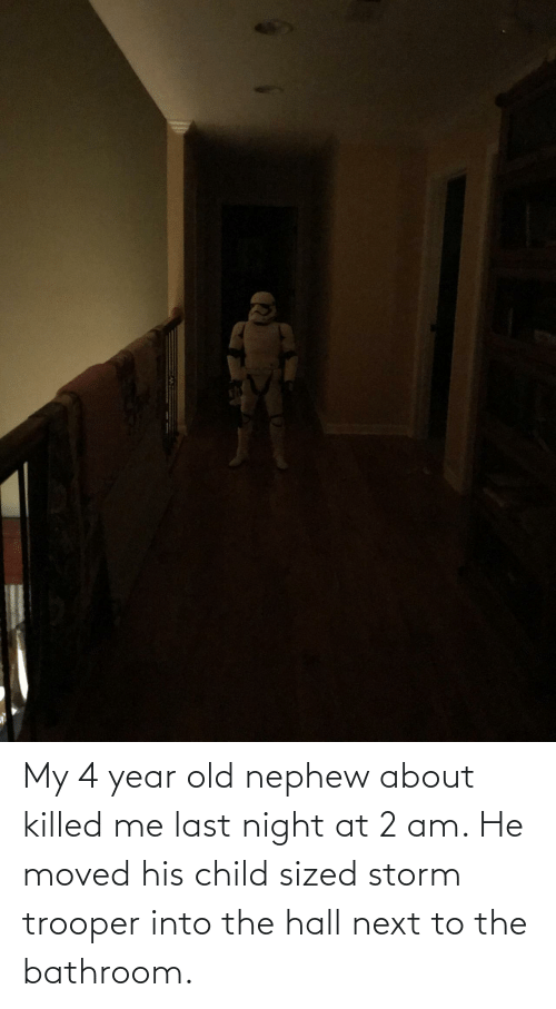 Next To: My 4 year old nephew about killed me last night at 2 am. He moved his child sized storm trooper into the hall next to the bathroom.