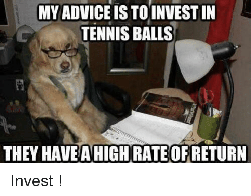 tennis balls: MY ADVICE IS TOINVEST IN  TENNIS BALLS  THEY HAVEAHIGH RATE OF RETURN Invest !