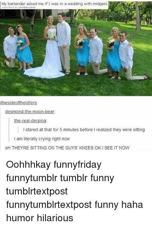 Ok I See: My bartender asked me if I was in a wedding with midgets  the sideonheotters  desmond-the-moon-bear.  the real derpina  I stared at that for 5 minutes before I realized they were sitting.  I am literally crying right now  OH THEYRE SITTING ON THE GUYS KNEES OK I SEE IT NOW Oohhhkay funnyfriday funnytumblr tumblr funny tumblrtextpost funnytumblrtextpost funny haha humor hilarious