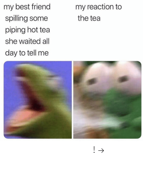 The Tea: my best friend  my reaction to  spilling some  the tea  piping hot tea  she waited all  day to tell me 𝘧𝘰𝘭𝘭𝘰𝘸 𝘮𝘺 𝘱𝘪𝘯𝘵𝘦𝘳𝘦𝘴𝘵! → 𝘤𝘩𝘦𝘳𝘳𝘺𝘩𝘢𝘪𝘳𝘦𝘥