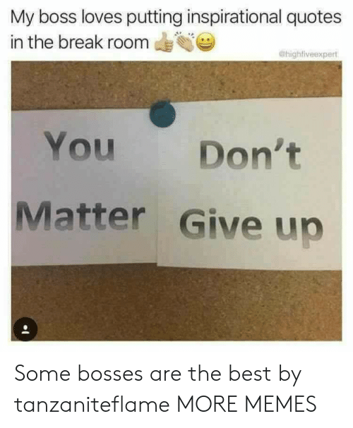 my boss: My boss loves putting inspirational quotes  in the break room  @highfiveexpert  You  Don't  Matter Give up Some bosses are the best by tanzaniteflame MORE MEMES