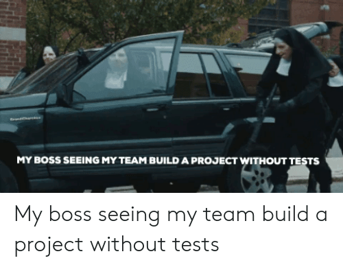 my boss: MY BOSS SEEING MY TEAM BUILD A PROJECT WITHOUT TESTS My boss seeing my team build a project without tests