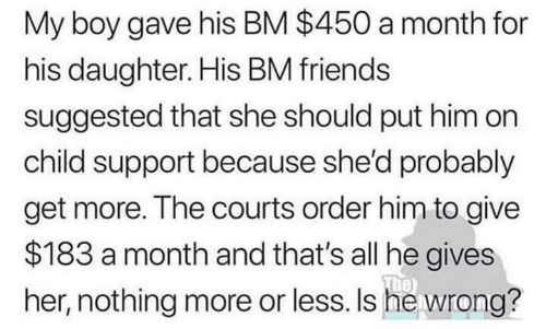 Child Support, Friends, and Memes: My boy gave his BM $450 a month for  his daughter. His BM friends  suggested that she should put him on  child support because she'd probably  get more. The courts order him to give  $183 a month and that's all he gives  The  her, nothing more or less. Is he wrong?