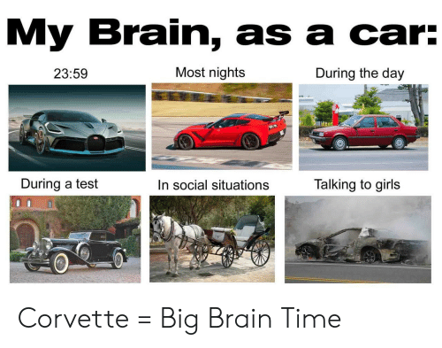 Social Situations: My Brain, as a car:  Most nights  During the day  23:59  During a test  Talking to girls  In social situations Corvette = Big Brain Time