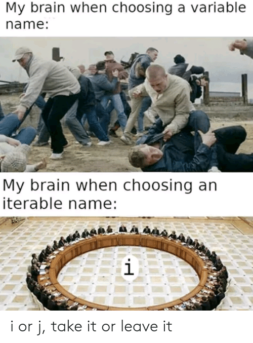 Leave It: My brain when choosing a variable  name:  My brain when choosing an  iterable name:  i i or j, take it or leave it