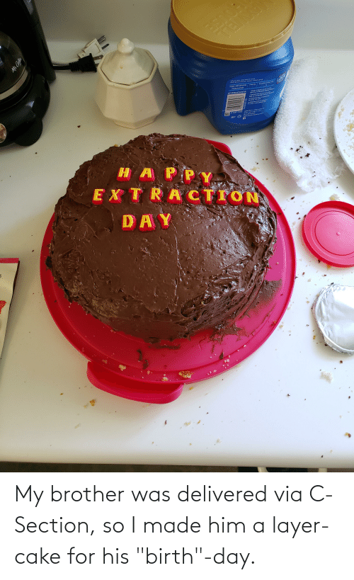"""birth: My brother was delivered via C-Section, so I made him a layer-cake for his """"birth""""-day."""