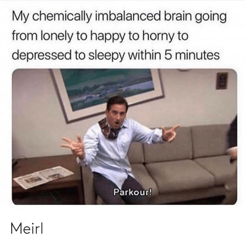 Horny, Brain, and Happy: My chemically imbalanced brain going  from lonely to happy to horny to  depressed to sleepy within 5 minutes  Parkour! Meirl