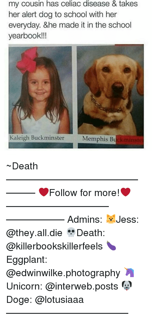 interweb: my cousin has celiac disease & takes  her alert dog to school with her  everyday. &he made it in the school  yearbook!!!  Kaleigh Buckminster  Memphis Bu ~Death —————————————–——— ❤️Follow for more!❤️ ——————————–—————— Admins: 🐱Jess: @they.all.die 💀Death: @killerbookskillerfeels 🍆Eggplant: @edwinwilke.photography 🦄Unicorn: @interweb.posts 🐶Doge: @lotusiaaa ——————————–——