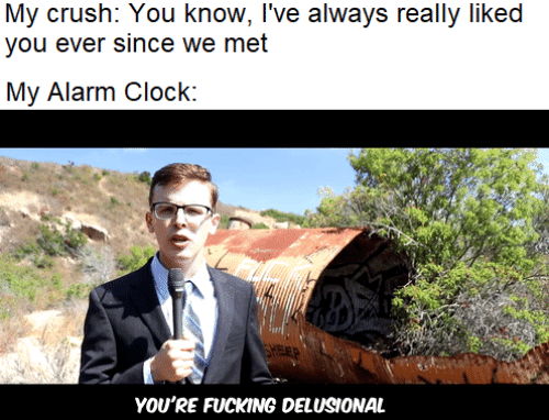 Alarm: My crush: You know, I've always really liked  you ever since we met  My Alarm Clock:  FEP  YOU'RE FUCKING DELUSIONAL