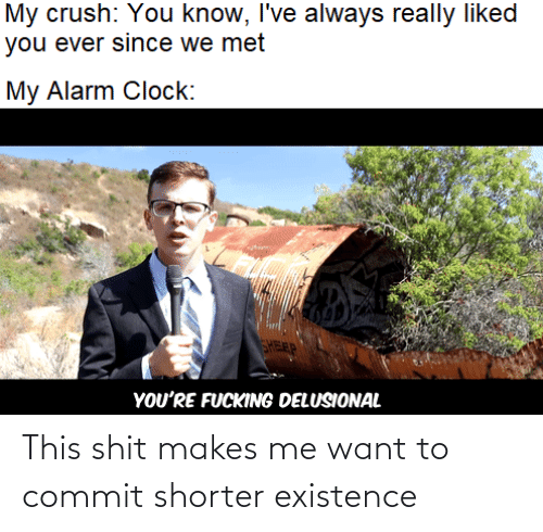 Crush: My crush: You know, I've always really liked  you ever since we met  My Alarm Clock:  FEP  YOU'RE FUCKING DELUSIONAL This shit makes me want to commit shorter existence