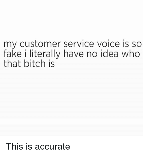 Bitch, Dank, and Fake: my customer service voice is so  fake i literally have no idea who  that bitch is This is accurate