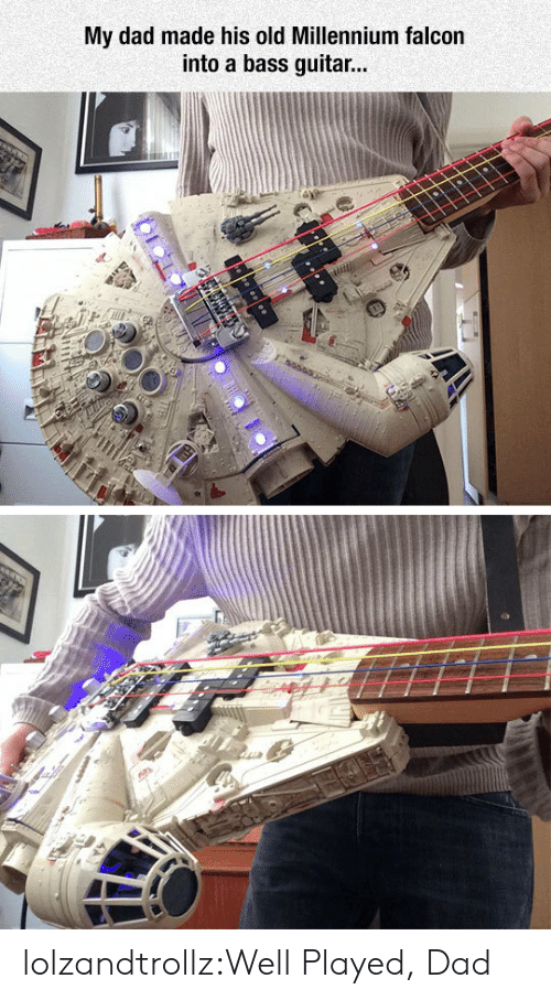 millennium: My dad made his old Millennium falcon  into a bass guitar... lolzandtrollz:Well Played, Dad