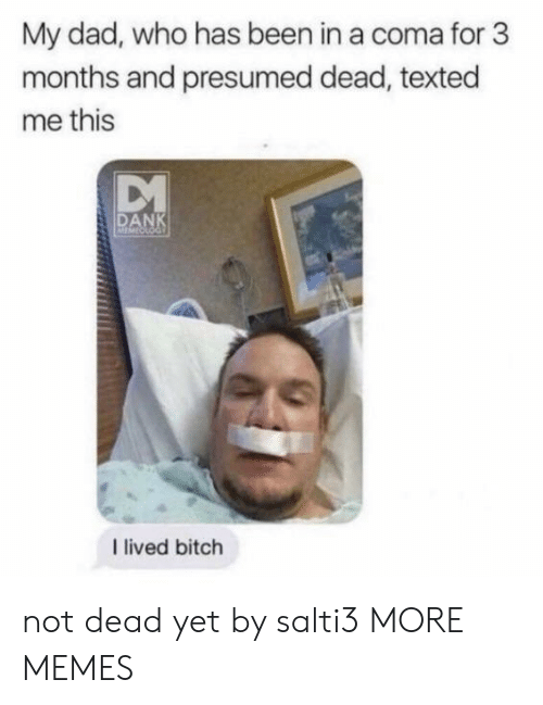 I Lived Bitch: My dad, who has been in a coma for 3  months and presumed dead, texted  me this  DANK  I lived bitch not dead yet by salti3 MORE MEMES