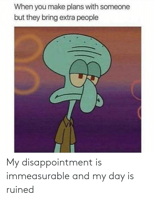 disappointment: My disappointment is immeasurable and my day is ruined