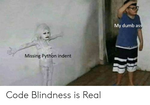 Dumb Ass: My dumb ass  Missing Python indent Code Blindness is Real
