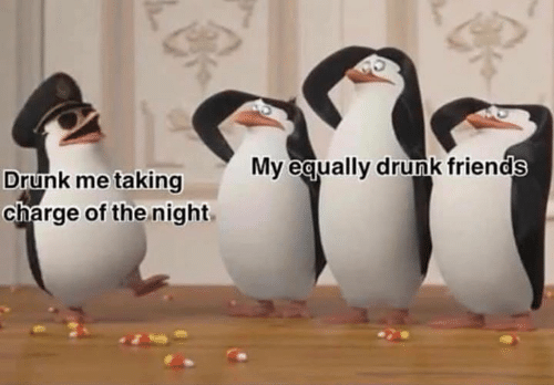 Drunk, Friends, and Funny: My eaually drunk friends  Drunk me taking  charge of the night,