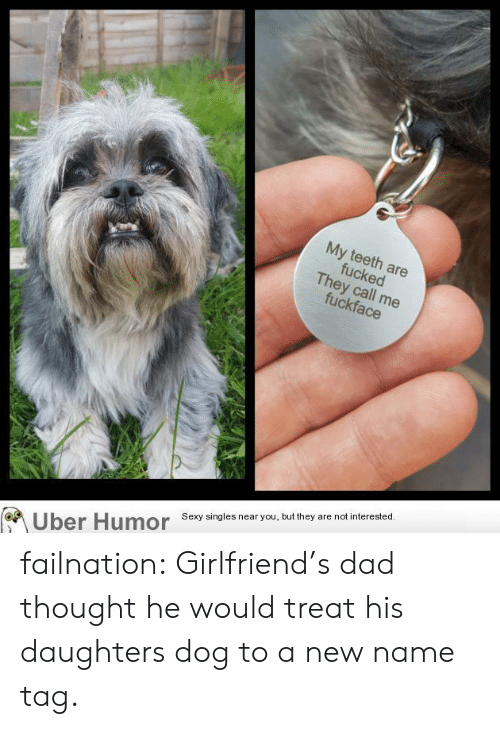 New Name: My  eeth  ed  ey call  Sexy singles near you, but they are not interested.  Uber Humor failnation:  Girlfriend's dad thought he would treat his daughters dog to a new name tag.