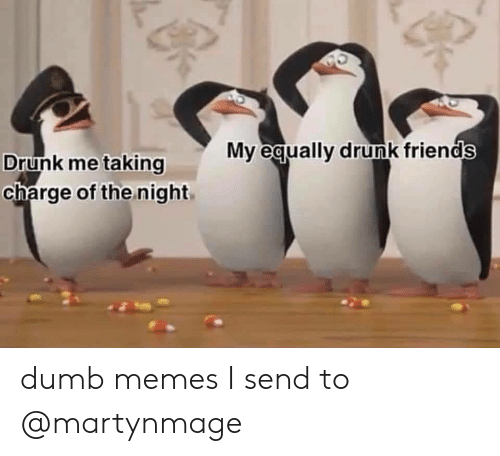 Drunk, Dumb, and Friends: My equally drunk friends  Drunk me taking  charge of the night dumb memes I send to @martynmage