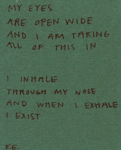 Open, All, and Nose: MY EYES  ARE OPEN WIDE  AM TAKING  ALL OF THIS IN  AND  1 INHALE  THROVGH MY NOSE  AND WHEN EXHALE  I EXIST  E E.