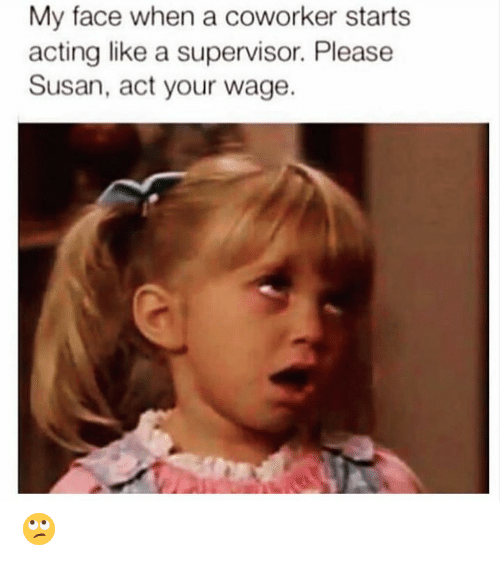 Memes, My Face When, and Acting: My face when a coworker starts  acting like a supervisor. Please  Susan, act your wage. 🙄