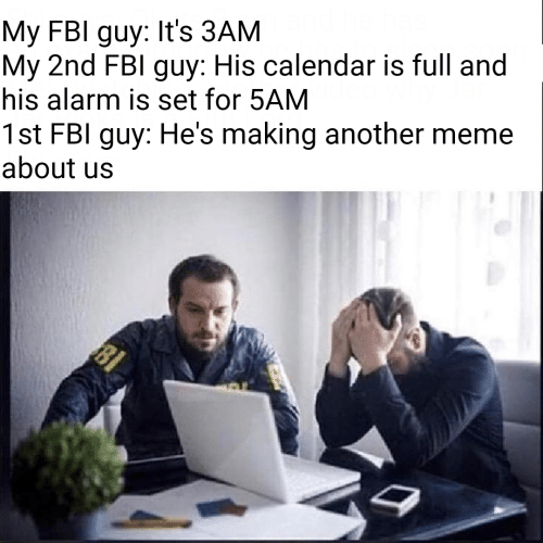 meme about: My FBI guy: It's 3AM  My 2nd FBl guy: His calendar is full and  his alarm is set for 5AM  1st FBI guy: He's making another meme  about us  BI