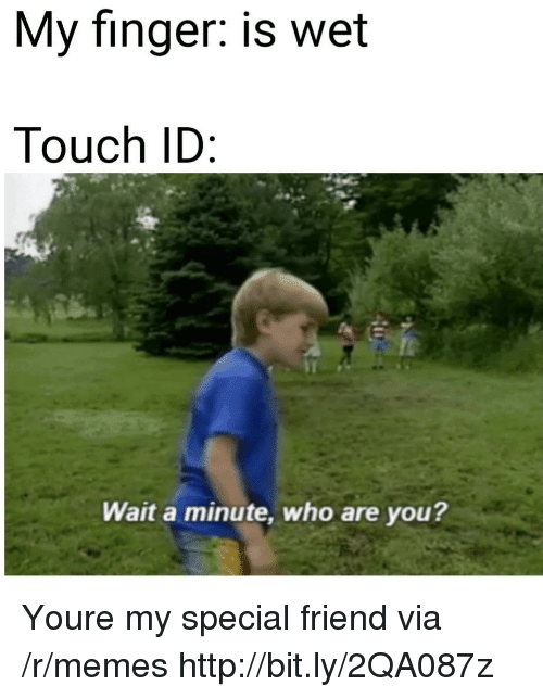 My Special Friend: My finger: is wet  Touch ID  Wait a minute, who are you? Youre my special friend via /r/memes http://bit.ly/2QA087z