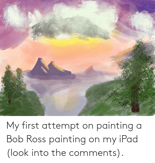 ipad: My first attempt on painting a Bob Ross painting on my iPad (look into the comments).