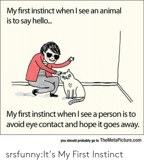 Avoiding Eye Contact: My first instinct when I see an animal  is to say hello...  My first instinct when l see a person is to  avoid eye contact and hope it goes away.  you should probably go to TheMetaPicture.com srsfunny:It's My First Instinct