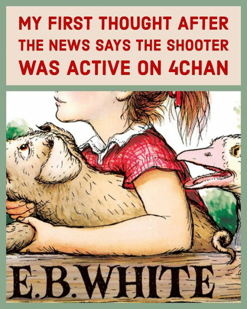 4chan, News, and White: MY FIRST THOUGHT AFTER  THE NEWS SAYS THE SHOOTER  WAS ACTIVE ON 4CHAN  U!  E.B.WHITE