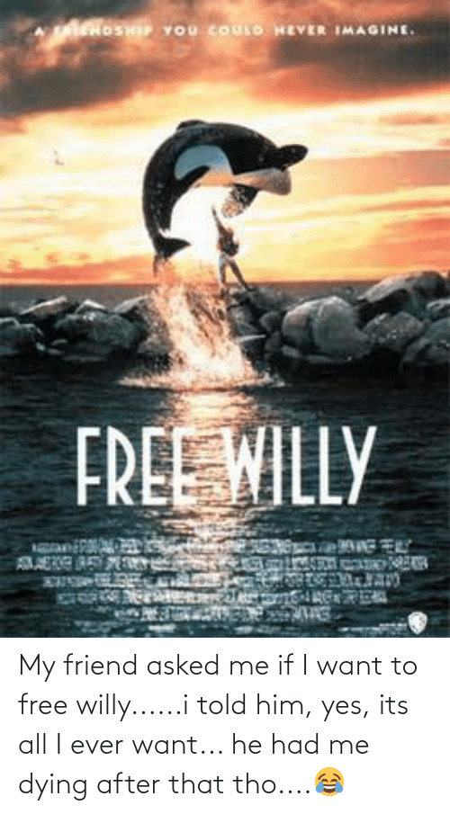 Me Dying: My friend asked me if I want to free willy......i told him, yes, its all I ever want... he had me dying after that tho....😂