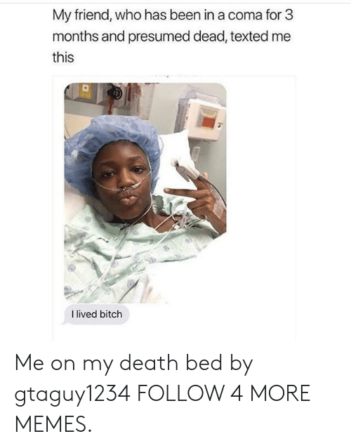 I Lived Bitch: My friend, who has been in a coma for 3  months and presumed dead, texted me  this  I lived bitch Me on my death bed by gtaguy1234 FOLLOW 4 MORE MEMES.