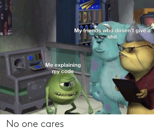 Cares: My friends who dosen't give a  shit  Me explaining  my code No one cares